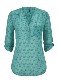 patterned v-neck one pocket chiffon blouse (original price, $29) available at #Maurices
