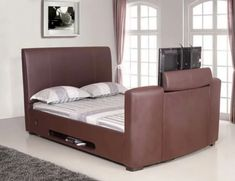 See of the Best TV Beds. This is the Artisan Brown Leather TV Bed upholstered in brown bonded leather. Available in Double and King Sizes. Read More. Tv Beds, Mattress In A Box, Black Bedding, Bonded Leather, Best Tv, Toys For Boys, King Size, Brown Leather, Artisan