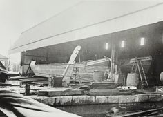"Caption: "" Grand Union Canal Carrying Company narrowboats in Bulls Bridge dry dock""  BW192-3-1-13-3 #London #canal #Boat"