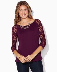 charming charlie | Polly Lace Sleeve Top | UPC: 410006897632 #charmingcharlie