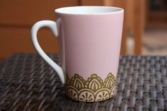 Pink Coffee Mug with Gold Lace Henna by ibleedheART on Etsy, SOLD