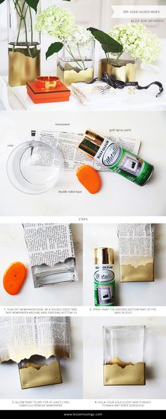 DIY Gold Gilded Vases, but try with tape for sleek lines.