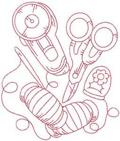 Rotary cutter and scissors redwork large (AIQR102L) Embroidery Design by Adorable Ideas
