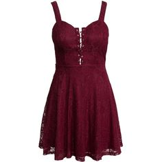 New Look Lace Eyelet Detail Skater Dress ($33) ❤ liked on Polyvore featuring dresses, party dress, burgundy, womens-fashion, purple lace cocktail dress, lace up front dress, burgundy cocktail dress, lacy dress and purple dress