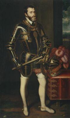 """JUAN PANTOJA DE LA CRUZ: """"El Emperador Carlos V"""", óleo sobre lienzo, 1605 (Museo del Prado). Fue un encargo de Felipe III a Pantoja de la Cruz con destino a El Pardo, donde un incendio el año anterior había arrasado la galería de retratos de la monarquía, de enorme valor simbólico, además de artístico."""
