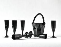 Fiona Kruger for Baccarat, black champagne set.