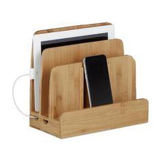 relaxdays Telefoon houder met oplaad functie, Tablet houder Bureau-organizer