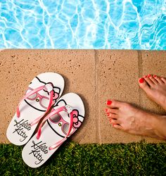 Too cool for the pool hello kitty flip flops