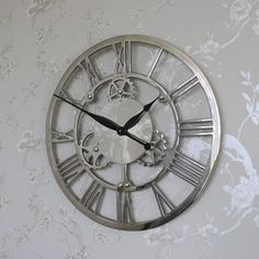 Large Silver Nickel Cog Skeleton Wall Clock