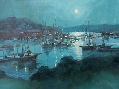 "Soft Moon over Camden by Jonathan McPhillips Oil ~ 9"" x 12"""