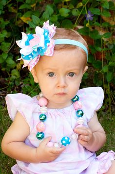 Baby Headband, Cotton Candy Cutie, Kinley Kate Limited Edition, bubble gum necklace, OTT baby bow, Boutique Bow, baby headband, cotton candy