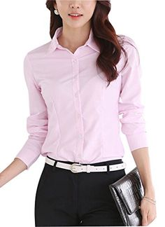 DPO Womens Cotton Collared Strech Button Down Shirt Long Sleeve Blouse Pink 4 -- You can get more details by clicking on the image.Note:It is affiliate link to Amazon.