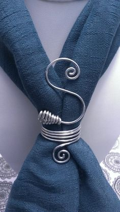 Personalized Initial Scarf Ring by AmberlyWay on Etsy Scarf Rings, Scarf Necklace, Scarf Jewelry, Fabric Jewelry, Wire Wrapped Jewelry, Wire Jewelry, Handmade Jewelry, Jewellery, Bijoux Fil Aluminium