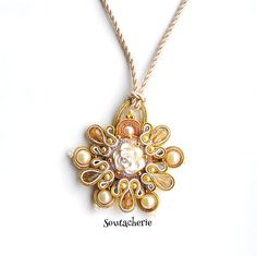 Flower pendant beige pendant soutache jewelry by Soutacherie
