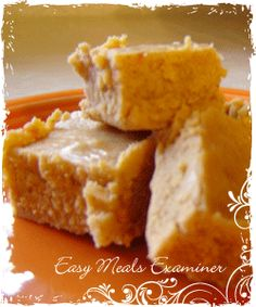Easy pumpkin fudge recipe - 1&1/2 cup sugar - 2/3 cup evaporated milk - 1/2 can pumpkin mix - 1& 1/2 teaspoon pumpkin pie spice -2 tablespoons butter Bring to boil then remove from heat & add 2 cup mini marshmellow - 11 oz pack of white choc. chips - 1 teaspoon vanilla extract