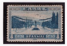 Greece Sc #381- 8d Blue 1934 Used F-VF Approach to Athens Stadium