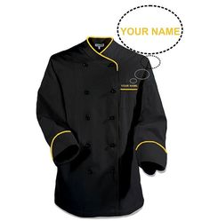 Black chef coat with gold piping. Add your text for perzolination
