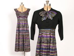 Vintage 50s DRESS & Bolero / 1950s Striped by LuckyDryGoods