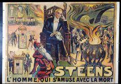 """STEENS . """"Steens.L'Homme qui s'amuse avec la mort"""".Lithographie en couleurs"""