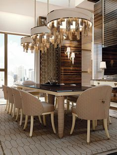 Find  now our collection of luxury  lighting fixtures to inspire your next dining room interior design project! Discover all of our lighting products at  luxxu.net  #diningroom #interiordesign #luxury #homedecor #decor #lighting