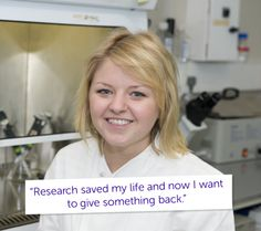 """""""I'm eternally grateful to the doctors – they saved my life."""" Meet Lee. She's studying bio-chemistry and is working towards a career in cancer research. """"When I was 14, I was diagnosed with chronic myeloid leukaemia, a rare form of blood cancer. I had blood transfusions and was told I'd need a bone marrow transplant. Research saved my life and now I want to give something back."""" We will beat cancer, help us make it sooner #ActNowForResearch"""