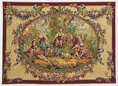 The Country Gathering tapestry woven in France is one of many Francois Boucher tapestries available from Tapestry Art Designs Tapestry Weaving, Wall Tapestry, Tapestry Fabric, Aubusson Rugs, Medieval Tapestry, French Walls, Romantic Scenes, Woven Wall Hanging, Wall Art Designs
