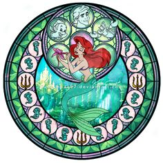 Princess Ariel - Kingdom Hearts Stain Glass Circle by on deviantART Disney Pixar, Disney And Dreamworks, Disney Kunst, Arte Disney, Disney Fan Art, Disney Dream, Disney Love, Disney Belle, Disney Stained Glass
