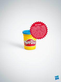 Play-Doh: Tub  Copy: Included a light saber, a robot, a tyrannosaurus, a rocket, transforming cars, [...]