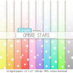 Stars digital paper OMBRE STARS rainbow gradient stars by Grepic  https://www.etsy.com/listing/190987413/stars-digital-paper-ombre-stars-rainbow?ref=shop_home_active_19