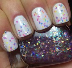 Zoya Monet w/ white base. Glitter polish.