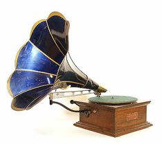 1909 Columbia Imperial Phonograph w/Original Blue Flower Horn * Gorgeous