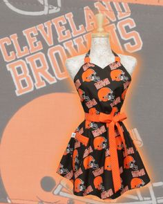 lol donny would probably have a heart attack if he saw me in the kitchen wearing this......... Cleveland Browns Apron, NFL football Browns Brown and Orange. $30.95, via Etsy.