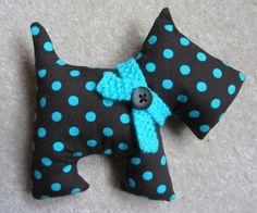 Scottie Dog Softie Fabric Toy by DotsandDaisy on Etsy, £5.99