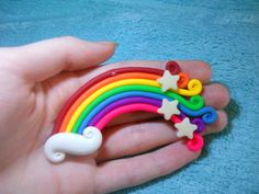 Swirly rainbow by on DeviantArt Polymer Clay Figures, Cute Polymer Clay, Cute Clay, Polymer Clay Charms, Polymer Clay Projects, Polymer Clay Earrings, Clay Crafts, Art For Kids, Crafts For Kids