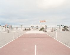 Pink tennis court on
