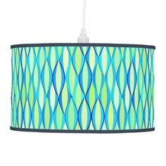 Mid-Century Ribbon Print - turquoise and lime