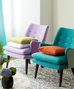 Allia fabrics, from Designers Guild. >> Love these chairs, the Dark Turquoise one is perfect!