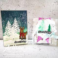"""Mit dem Produktpaket """"In the Pines"""" kann man in Kombination mit weiteren Produkten schöne Karten mit tollen Landschaften gestalten und kleine Goodies für besondere Anlässe aufpeppen."""