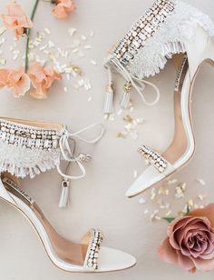 cd5b58f497 fringe heels | Badgley Mischka | wedding shoes | beaded | bridal fashion  Badgley Mischka Shoes
