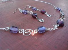 Purple Glass Beads with Silver Coated Wire