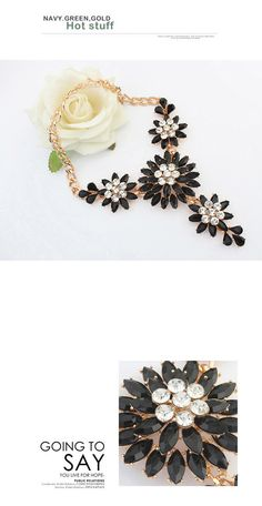 Sample Black Diamond Decorated Large Flower Design Alloy Fashion Necklaces ,Fashion Necklaces http://earrings.asumall.com/