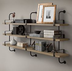 """1950s French Factory Shelving - Medium: 56""""W x 10½""""D x 43¾""""H - $795 - Shelving for above the desks in the office."""
