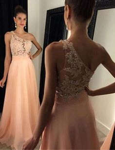 One Shoulder Prom Dresses,Peach Prom Gowns, Appliques Prom Dresses,Beaded Prom Gowns, Chiffon Prom Dresses,Simple Prom Dresses,Sleeveless Prom Dresses,Sexy Prom Dresses,Cheap Prom Gowns