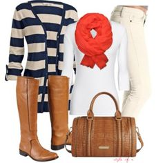 Navy Stripes with a Coral Pop