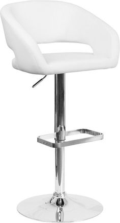This modern barstool is upholstered in a durable vinyl upholstery and adjusts from counter to bar height. The rounded back features a decorative zipper trim design. The height adjustable swivel seat a
