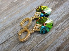 Swarovski Crystal Vitrail Medium Drop Dangle Heart by JaneRJewelry