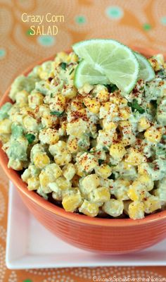 Mexican Crazy Corn Salad... a play on mexican street corn.. corn, avocado, chili powder, lime, etc. yum!