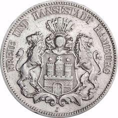 Jäger 62 - Hamburg Kleiner Adler - 5 Mark Silber 1875 - 1888 Münze in Münzkapsel