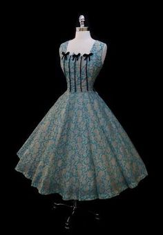 Vintage 1950s Blue Silk Metallic Roses Full Skirt Dress by sybil