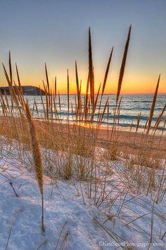 Lake Michigan ... Leland sunset ~ beach grass view, Whaleback Point, Michigan by…